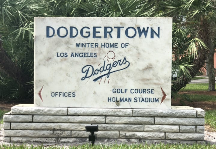 As the facility rebrands and works to replace old signs, this historic stone Dodgertown sign will remain on the property. Photo by Tiffany Corr