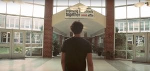 "Dudley Salmon walks through Brentwood High School in Brentwood, New York, as he films his music video, ""B-Wood."""