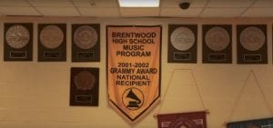 A sign of award recognition hangs inside Brentwood High School for its music program in Brentwood, New York.