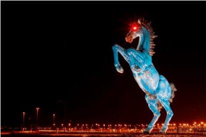 'Blucifer' Statue at Denver International Airport Vandalized with Orange Graffiti