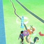 Screenshot from Pokemon Go app, set to map view with small Pokemon on the ground.