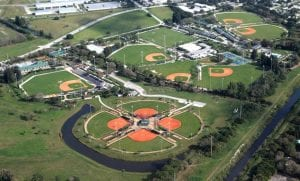 Aerial shot of present day Jackie Robinson Training Complex. Tournaments for youth baseball, men's baseball, and women's softball are held here. The 100-by-130 yard field can accommodate football, lacrosse, and soccer teams. Photo courtesy of Jeff Biddle