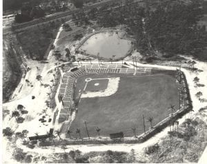 Aerial shot of Holman Stadium, circa early 1950's. Photo courtesy of Ruth Stanbridge, President/County Historian of the Indian River Historical Society