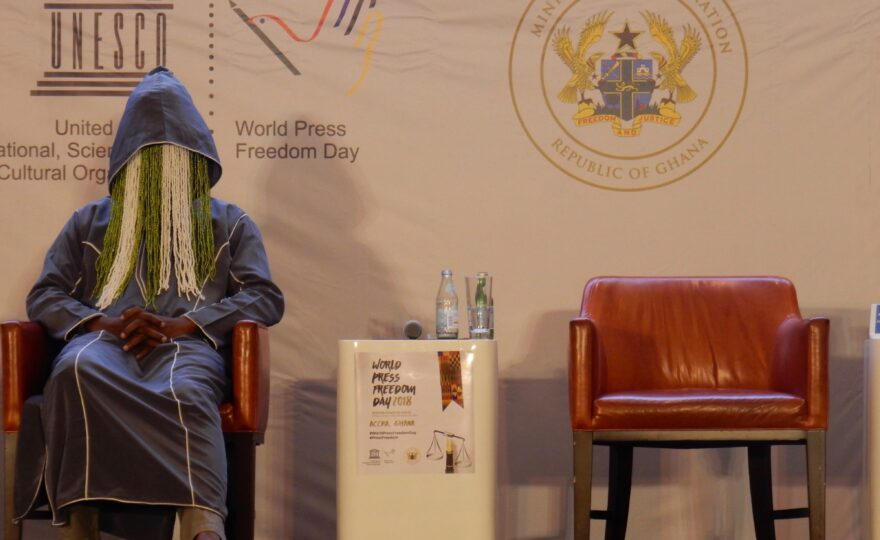 Anas at 2018 UNESCO World Press Freedom Day in Accra, Ghana [Photo credit: CPJ/Jonathan Rozen]