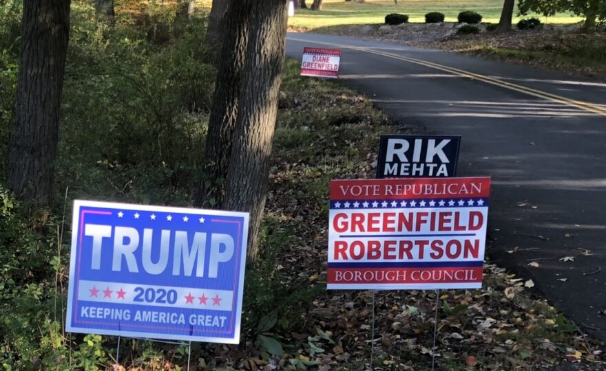 Political signs on Mount Harmony Road in Bernardsville, N.J.