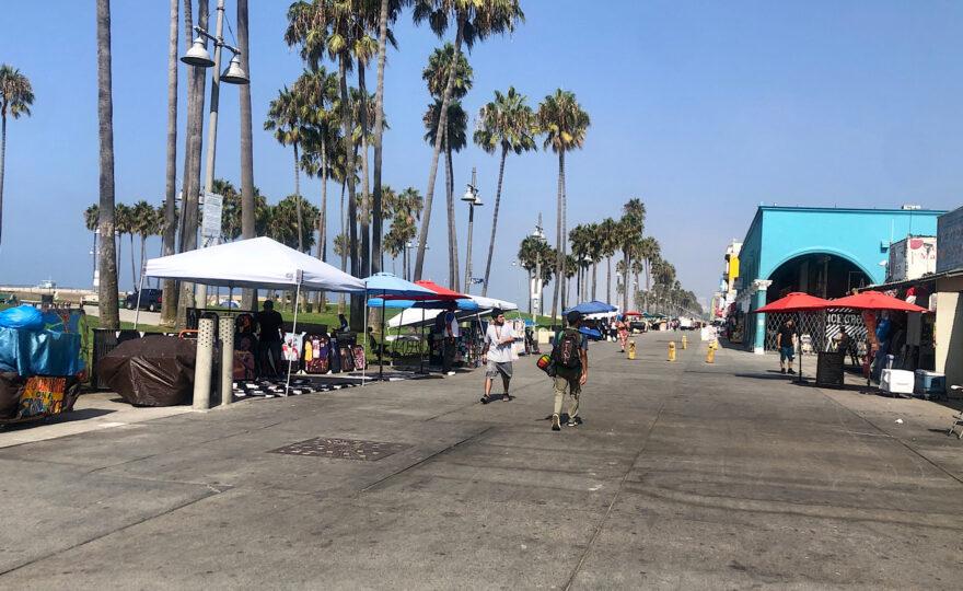 Vendors on the boardwalk at Venice Beach