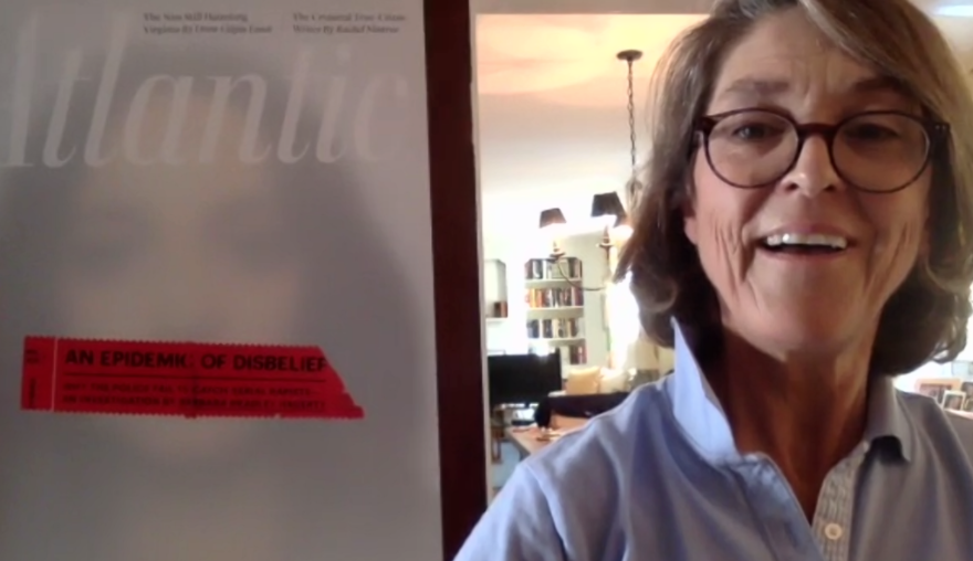 Barbara Bradley Hagerty in front of her cover for The Atlantic.