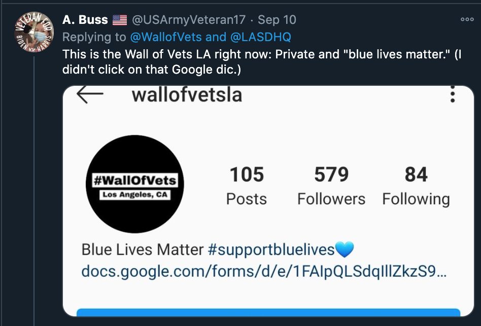 "Screenshot of Wall of Vets' Twitter Account with the hashtag changed to ""bluelivesmatter"""