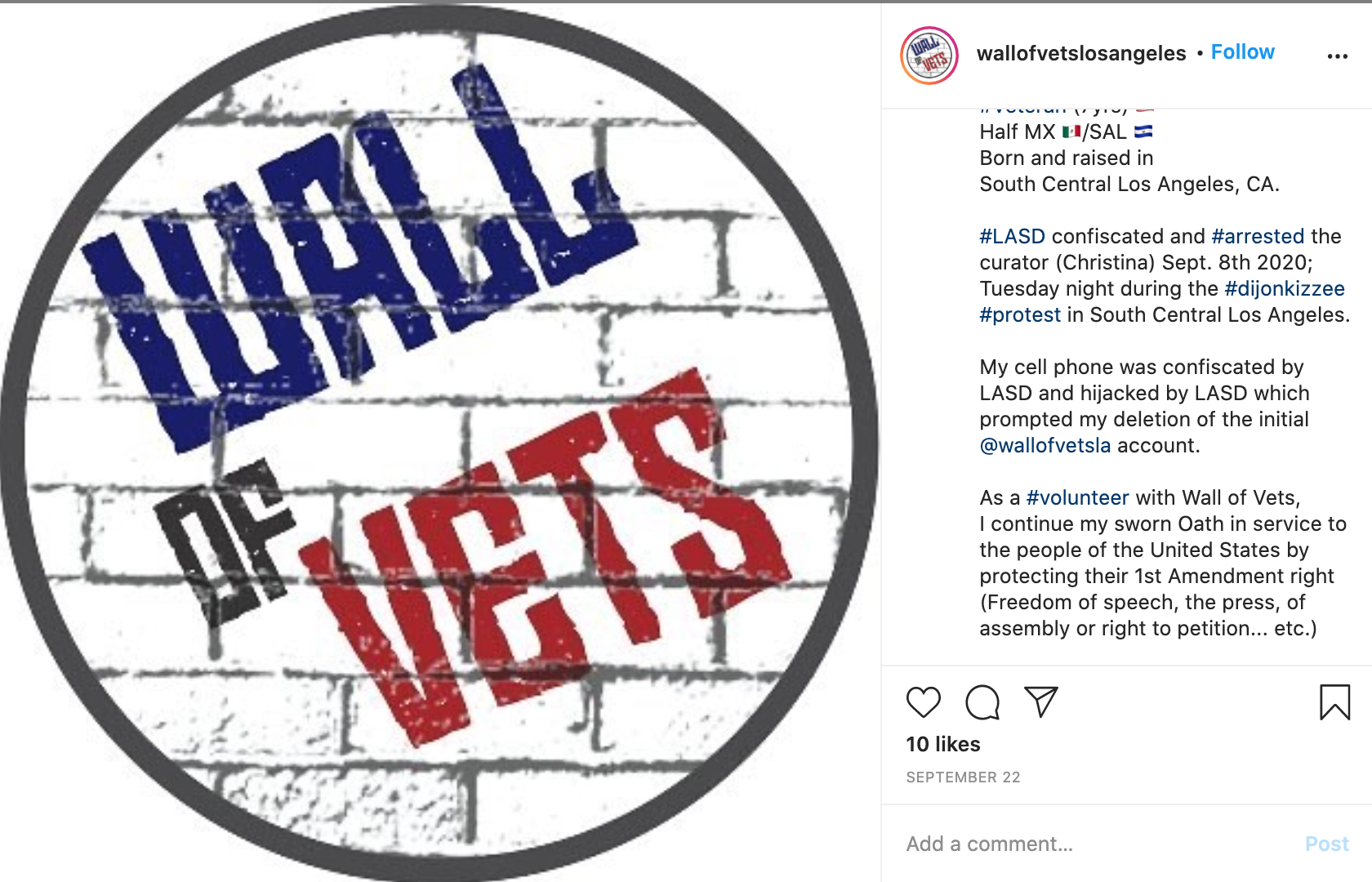 Screenshot of Wall of Vets' Sept. 22 Instagram post