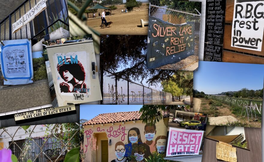 A collage of images around the Silver Lake Reservoir depicting Black Lives Matter installation, sign, empty parks, RBG mural, etc.