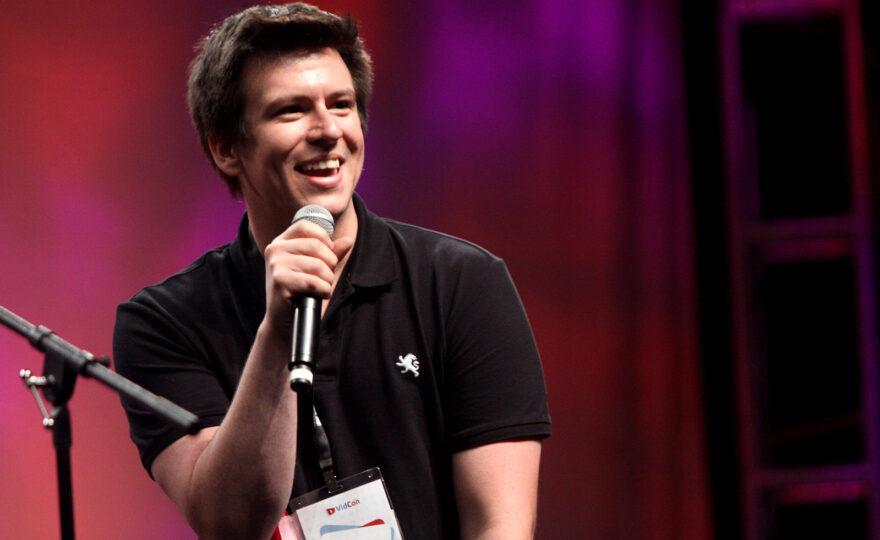 Philip Defranco speaking at VidCon 2012 at the Anaheim Convention Center in Anaheim, California.