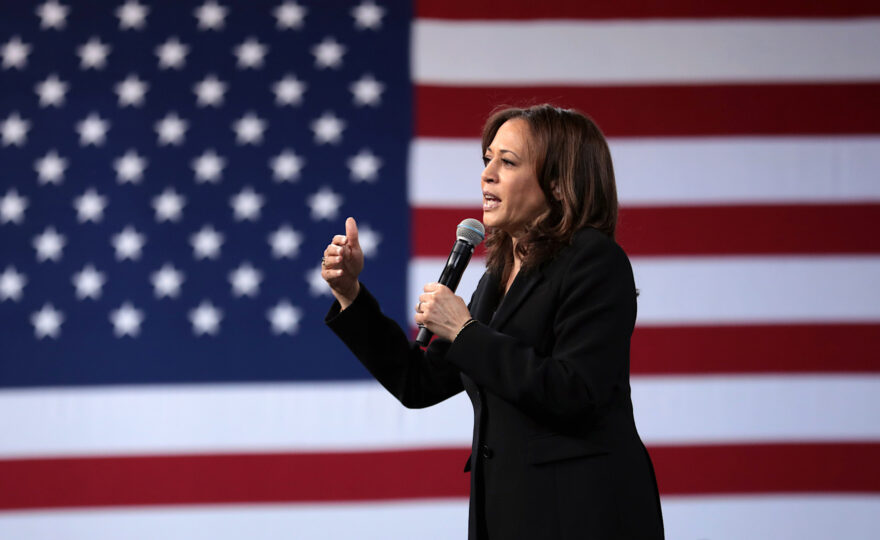 U.S. Senator Kamala Harris speaking with attendees at the 2019 National Forum on Wages and Working People