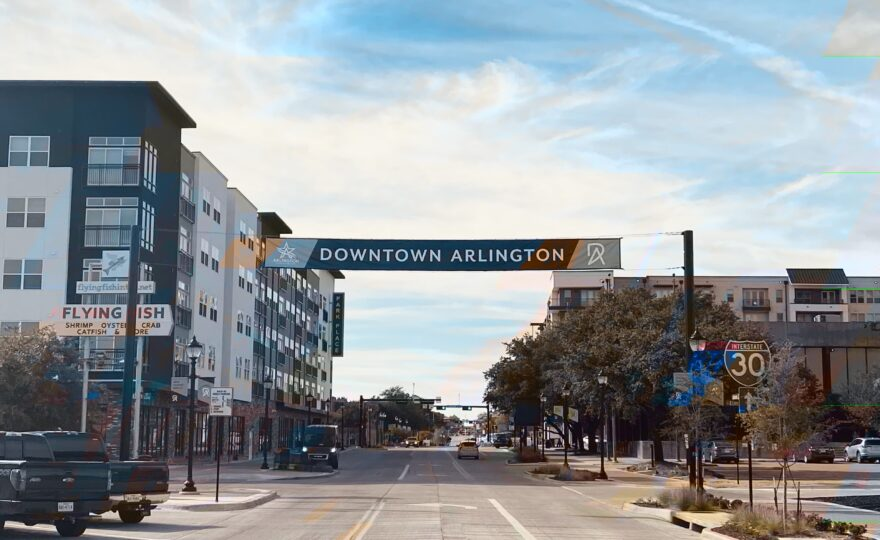 A street through downtown Arlington, Texas