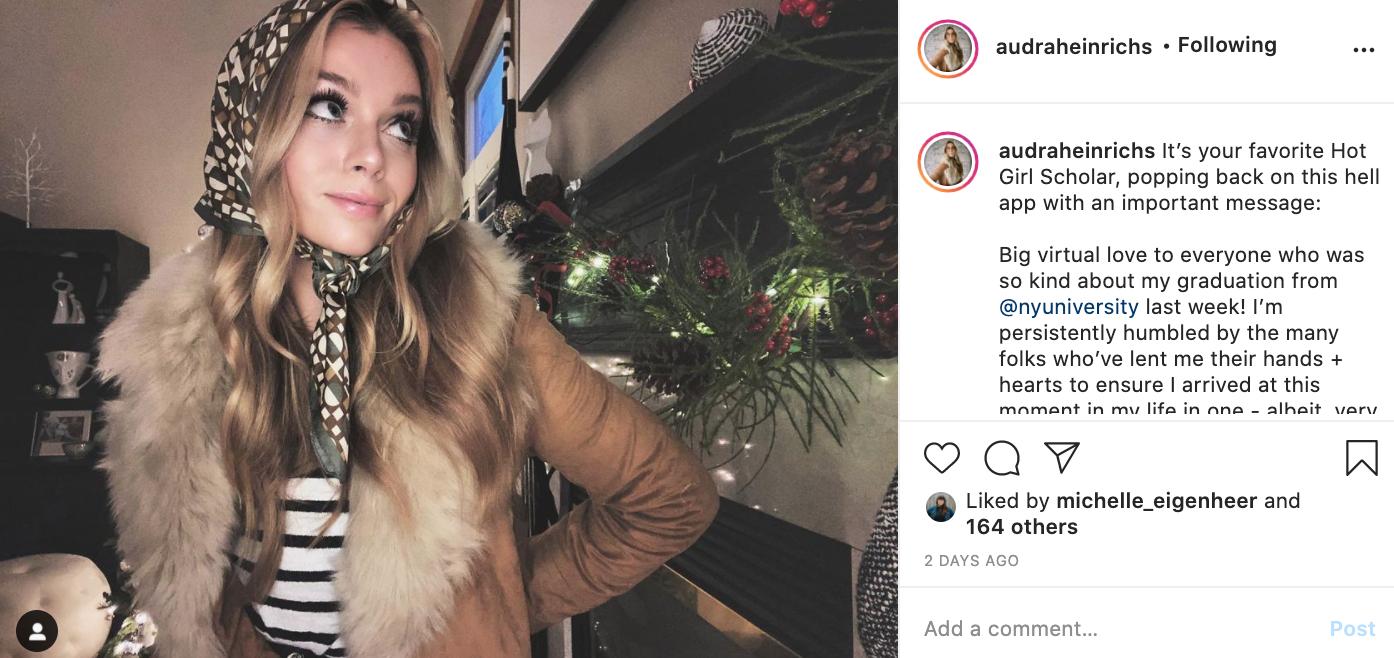 Audra Heinrichs in her graduation post on Instagram