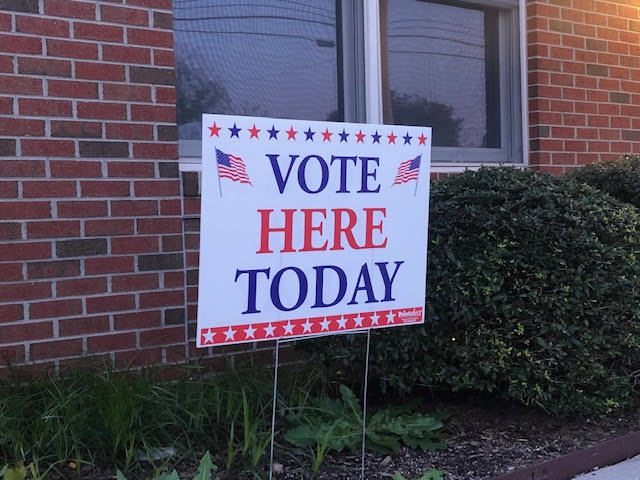 Voting sign outside of the Petersburg, VA voting location