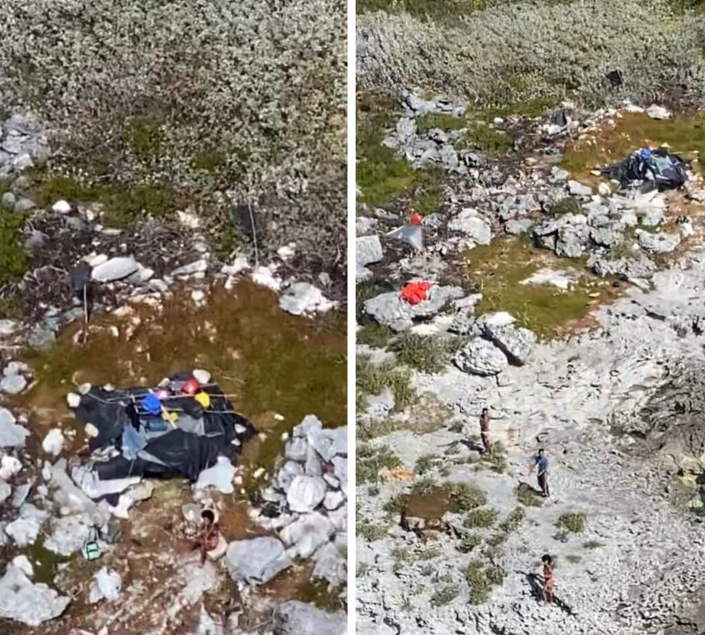 Makeshift campsite on Anguilla Cay where three Cuban migrants were stranded for 33 days [Credit: USCG 7th District]