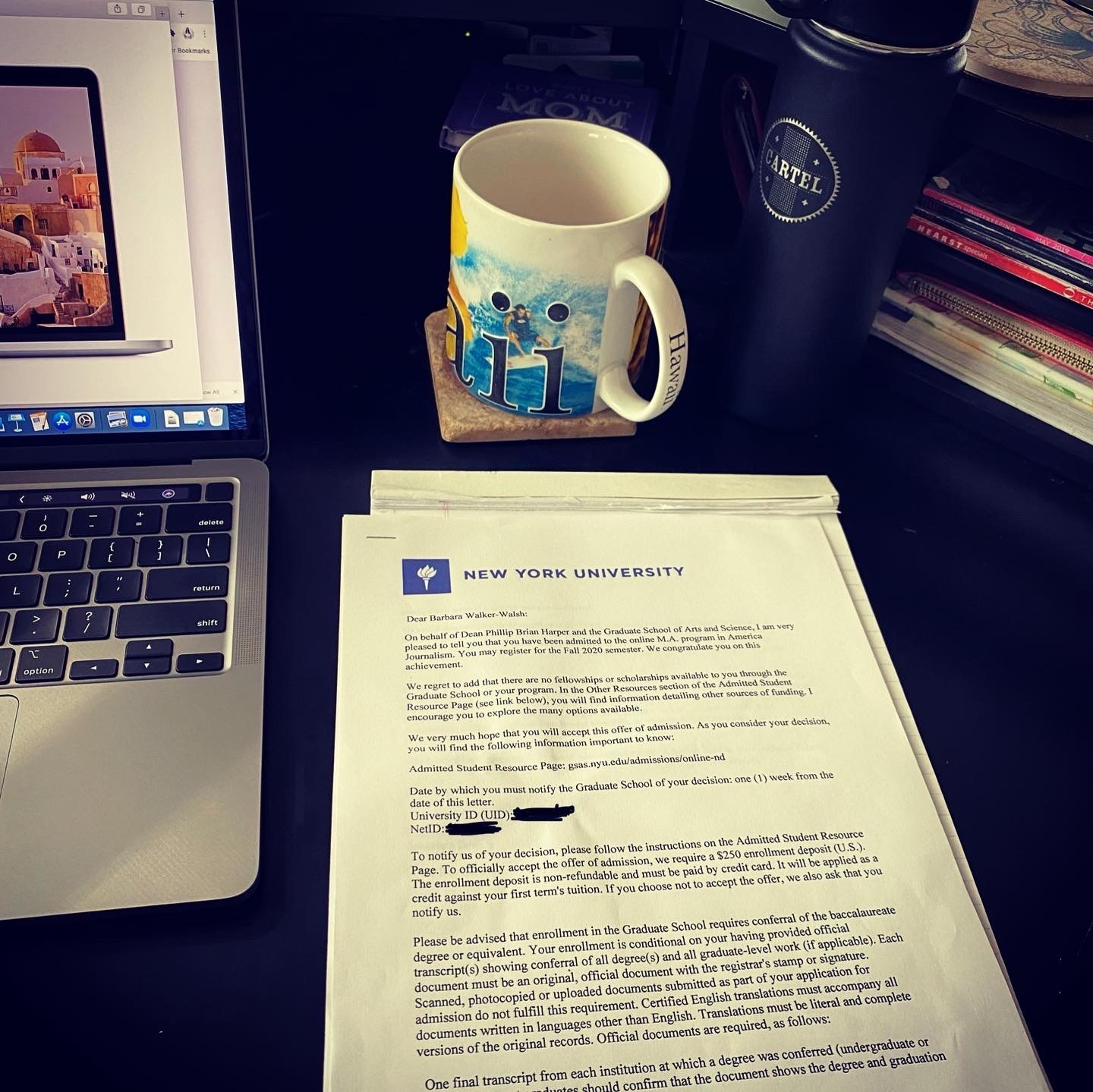 A few of Barbi Walker-Walsh's favorite things: coffee and her NYU acceptance letter. [Photo courtesy of Barbi Walker-Walsh]