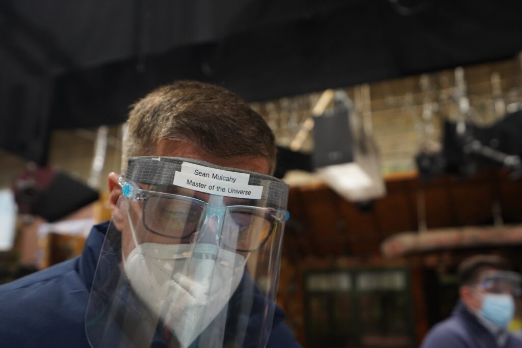 Sean Mulcahy on the set of Disney Channel's Bunk'd. While on set, all non-talent crew members must wear network-approved face masks, face shield, and cannot drink or eat on stage. Covid testing is done three times a week. [Photo: Lilian Manansala]