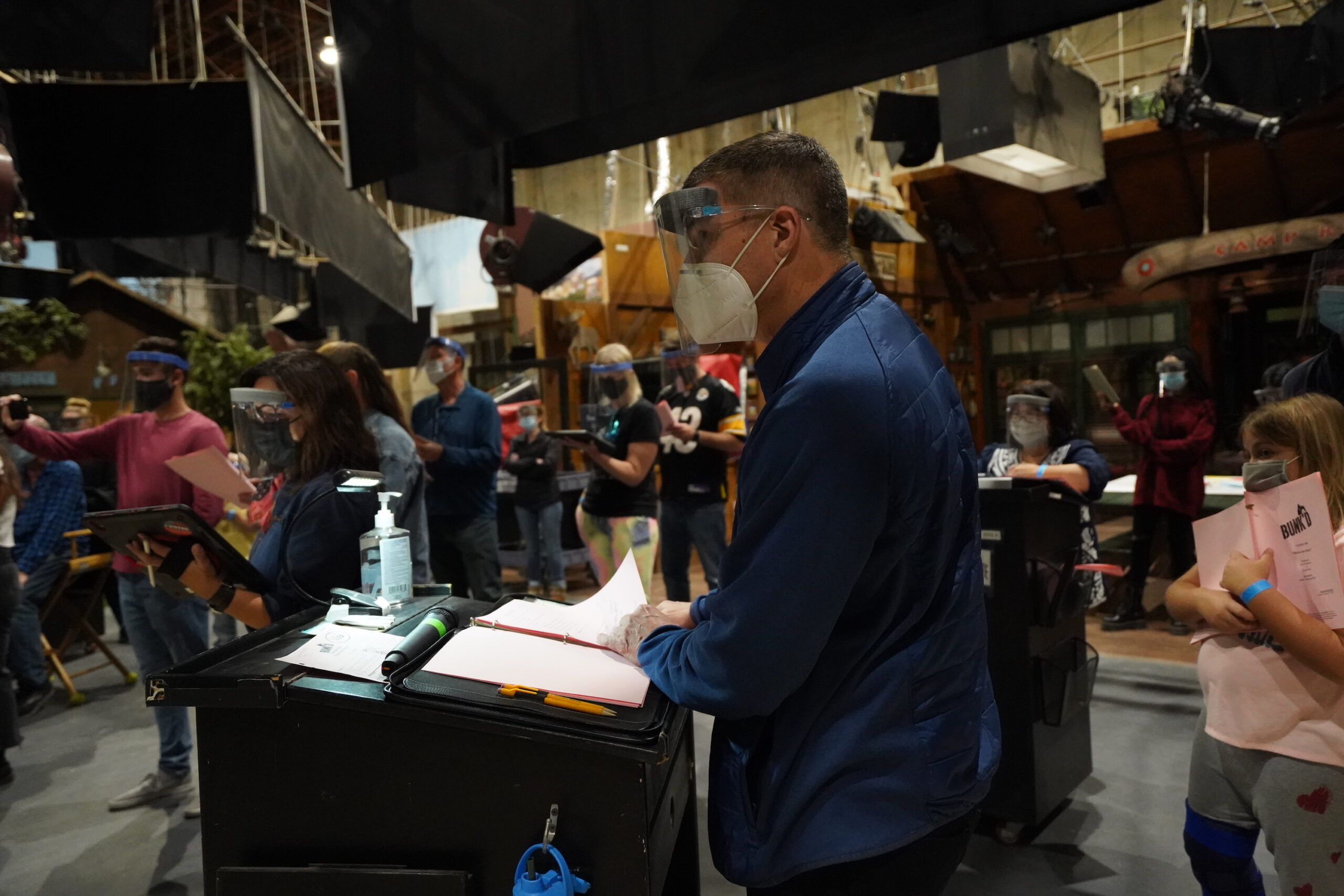 During a Disney network run-thru. All attendants socially distanced. Crew was pared down to the smallest number possible; non-essential production, like the writers who haven't been on set since the start of the 5th season, have been Zooming into work.. [Photo: Lilian Manansala]