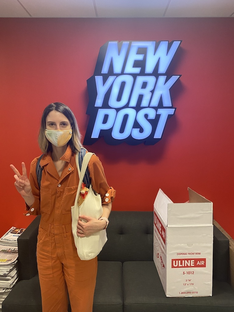 Hannah Sparks says 'goodbye' to the New York Post office in Midtown as pandemic lockdown took full effect in March 2020. [Photo courtesy of Hannah Sparks]