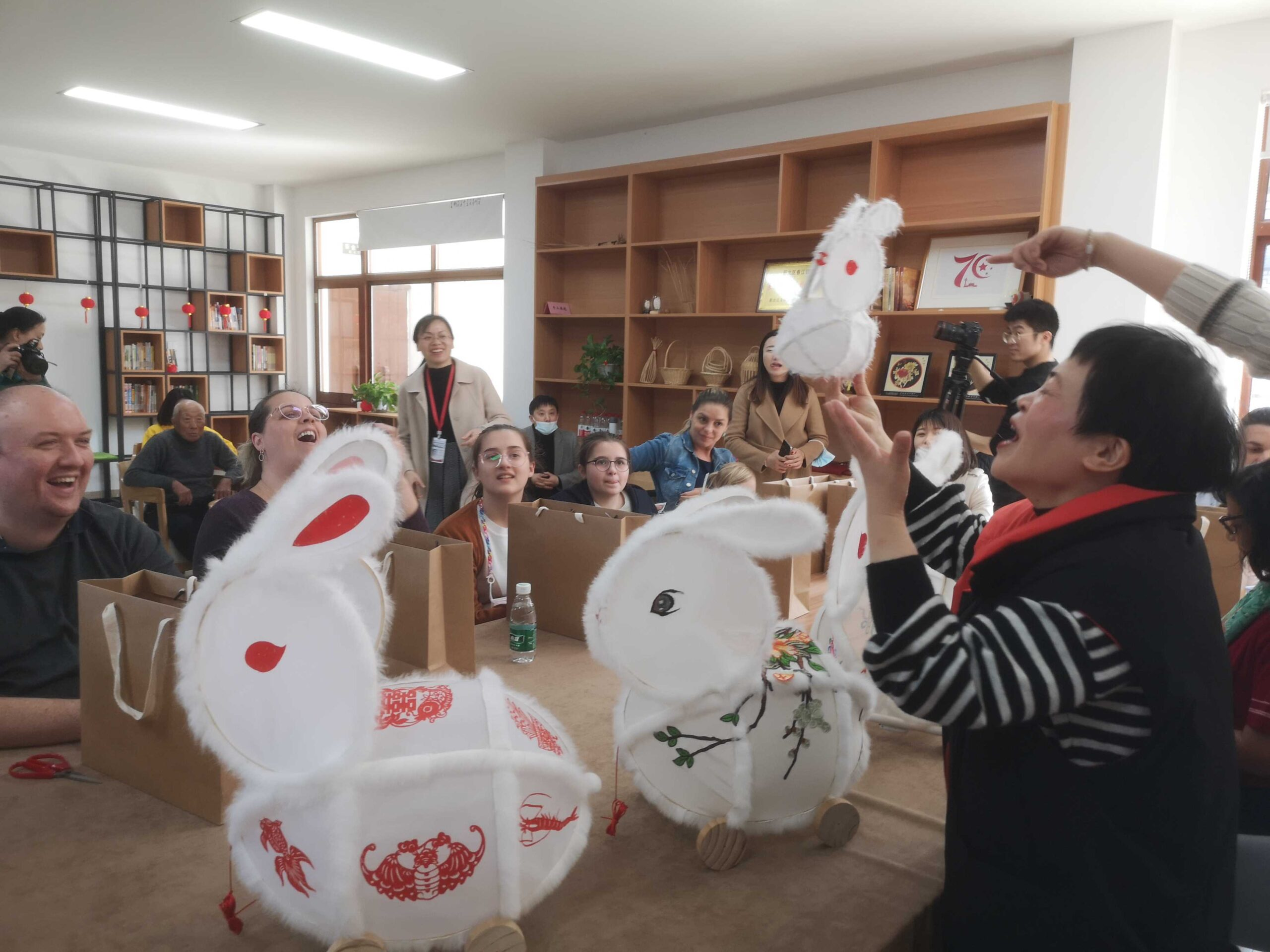 Theresa Boersma helped organize this February 2021 class that taught foreigners how to make rabbit lanterns. [Photo courtesy of Theresa Boersma]