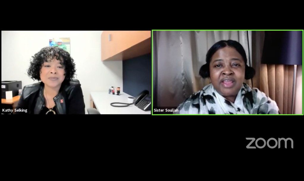 Zoom Screenshot of Sister Souljah and TLCP Library reporter/host