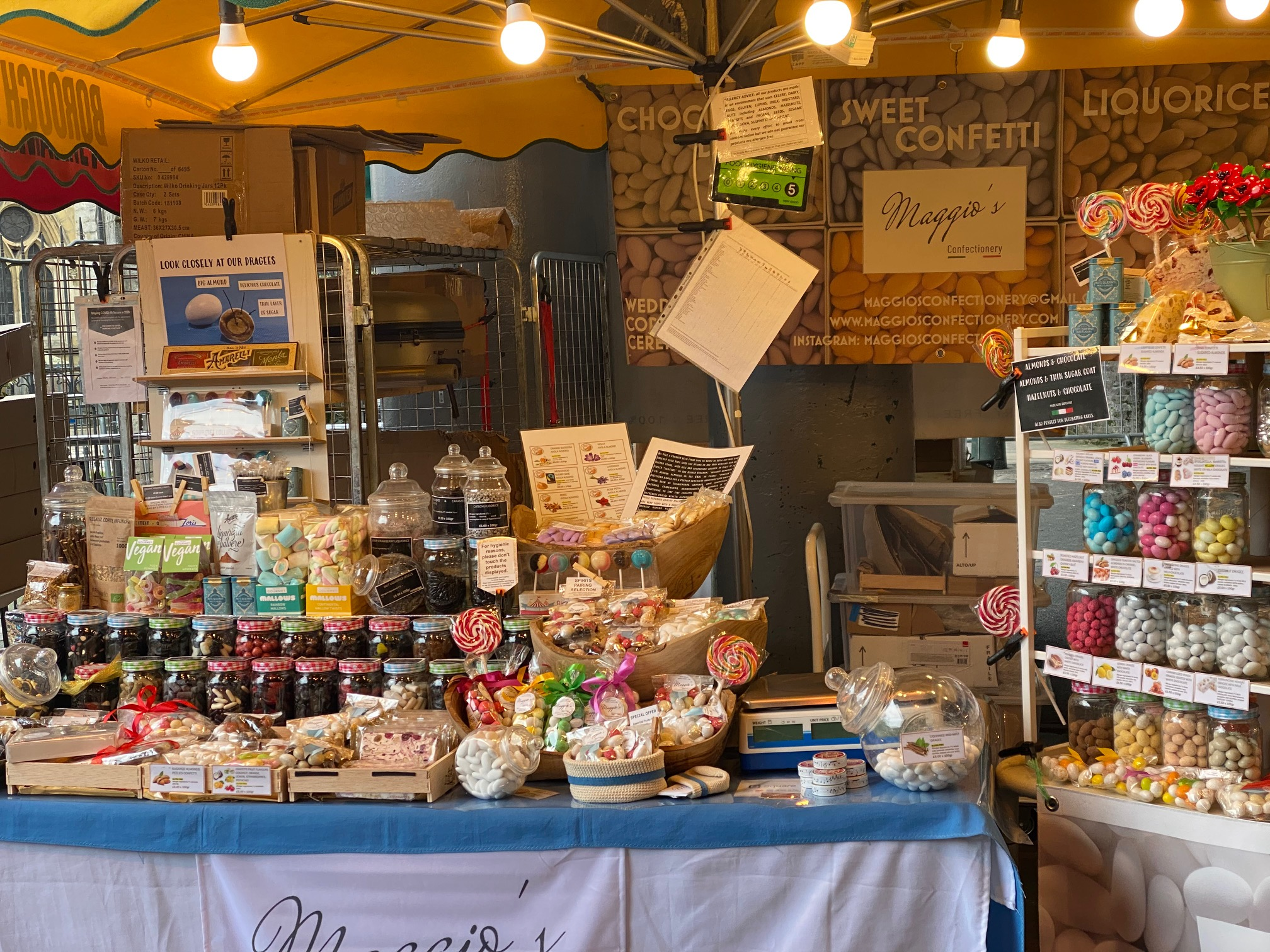 A confectionery stall in Borough Market