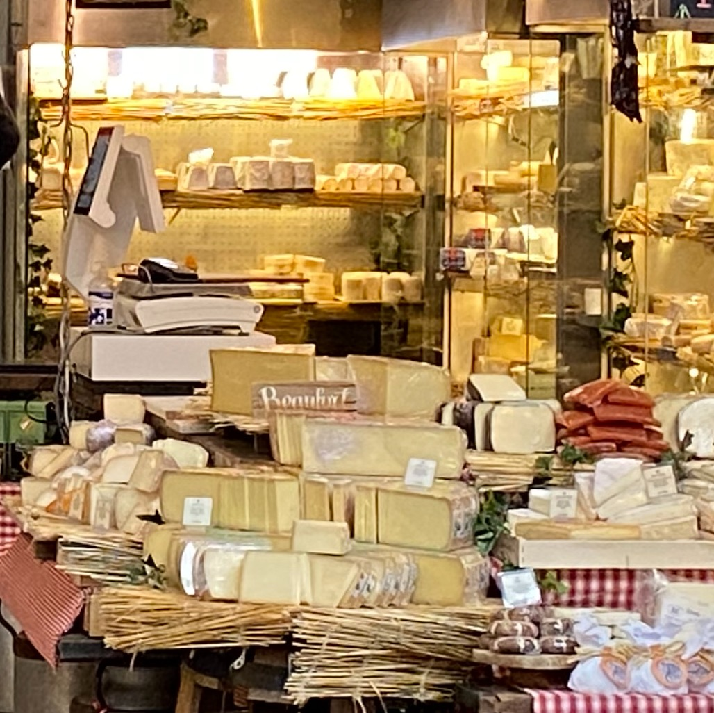 A French cheese stall in Borough Food Market