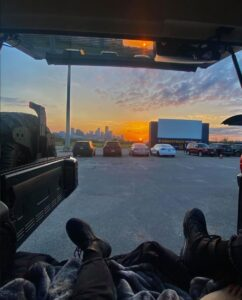 View from the trunk of a car at Moonstruck Drive-In [Credit: Instagram @moonstruckdrivein]
